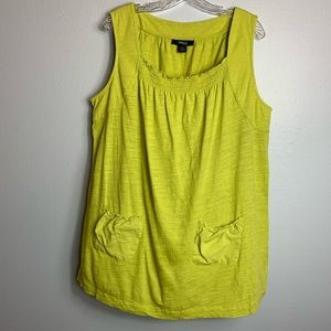 BRIGHT LIME STYLE & CO TANK WITH POCKETS SIZE 2X